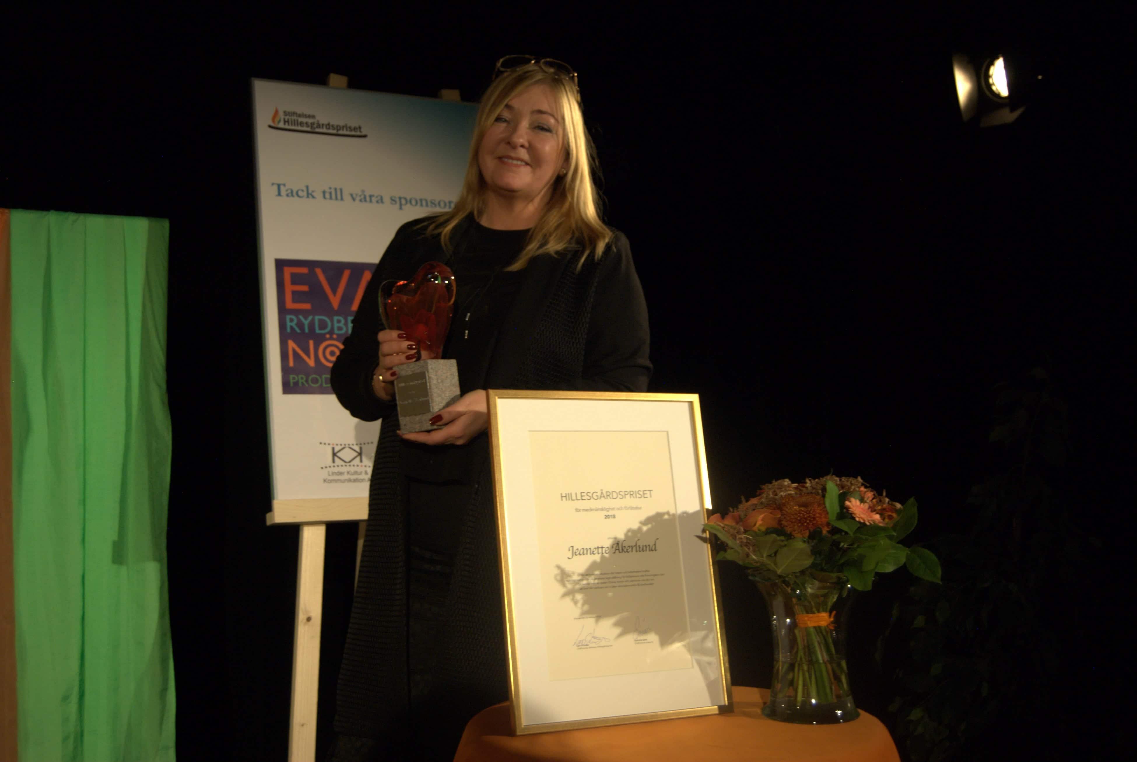 Jeanette Åkerlund, mottagare av Hillesgårdspriset 2018 för medmänsklighet och förlåtelse.